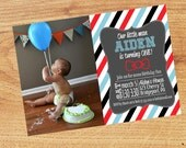 Bow Tie First Birthday Party - Little Man - Chalkboard - First Birthday Invitation