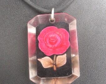 Vintage Lucite Rose Black Background Necklace