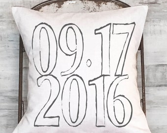 Pillow Cover Personalized Date Wedding Gift, Cotton Anniversary Gift