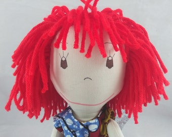 READY TO SHIP  Rag doll, light skin tone, mop of red hair, Cloth Doll, Plush Toy, Soft Doll, Fabric Doll, Stuffed Doll