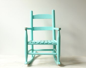 Child's Vintage Rocking Chair, Wood Rocking Chair in Robin's Egg Blue