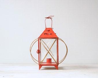 Vintage Metal Lantern, Red Candle Holder Lantern