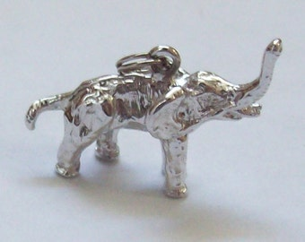 3D Elephant Sterling Silver Charm