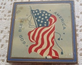 Vintage Compact God Bless America Flag Military Photo