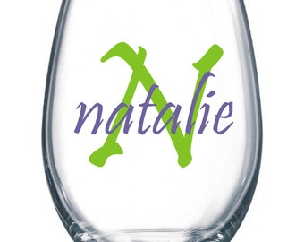DIY Personalized Monogram and Name Wine Glass Kit for 6 Glasses * Wedding Party * Rehearsal Dinner * Vinyl Wine Glass Decals * Save Money *