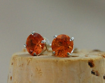 Alicia - Orange Sapphire Earrings, Earrings, gemstone earrings, stud earrings, orange sapphire, gift idea, for her, woman, youth, birthday