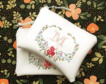 Personalized Bridal Shower Party Bohemian Wedding Favors Bridesmaid Gift Embroidered Floral Monogram Zipper Pouch Initial Leather Makeup Bag