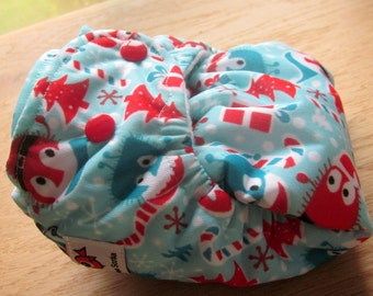 Limited Edition, Ooga Booga , Holiday one size pocket diaper with organic bamboo insert * READY TO SHIP*