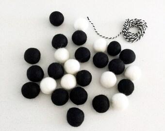 Black and White Felt Balls Banner Kit