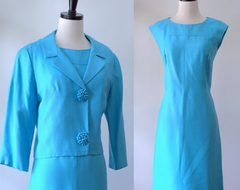 Vintage 1960s Dress and Jacket Cocktail Dress Turquoise Blue Dress Blue Sheath Dress Semi Formal Outfit 1960s Clothing Women Size Medium
