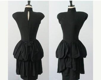 Vintage 1980s Dress 80s Dress 1980s Party Dress Black Cocktail Dress Bubble Skirt Dress 1980s Clothing Bubble Dress Nicole Miller Small SM