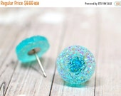 25% OFF SALE Ice Blue Green Druzy Earrings / Faux Druzy Studs on Stainless Steel Post Backs / Iridescent Minty Icy Blue Studs, Aqua Earrings