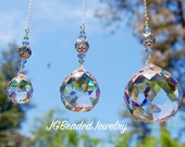 Hanging Crystal Suncatcher, Peridot Lavender Gray, Home Decor, Rearview Mirror, Ceiling Light Pull, Fan Pull, Car Charm, Comes in 3 Sizes!