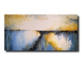 Original Large Abstract painting - 24 X 48 Inches-by Artist JMJartstudio- Stormy Weather-Wall art-wall decor - Blue painting-Oil painting