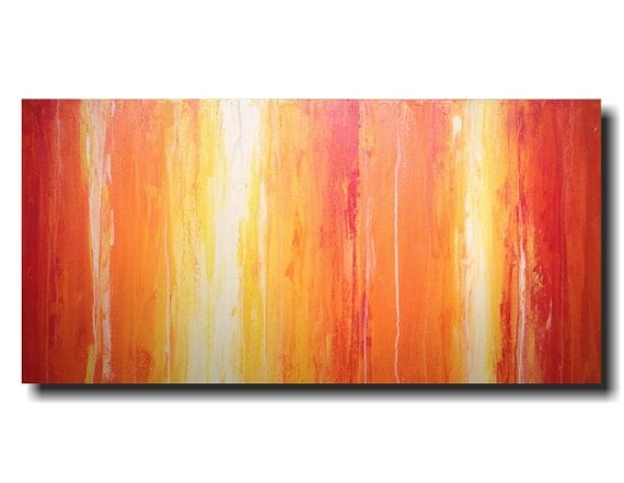 Original Large Abstract painting  24 X 48 Inches-by Artist JMJartstudio-Saturation-Wall art-wall decor - Orange painting-Oil painting custom