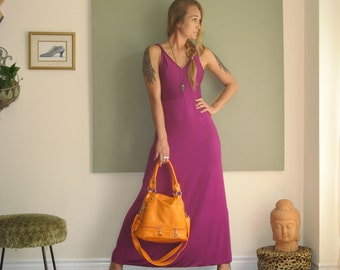 Maxi Boho Summer Dress Long Loose A Line Dress Sleeveless Modern Minimalist Beach Wedding V Neck Twisted Straps  (More Colours) XS - XL