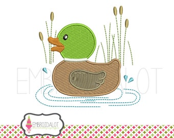 Duck machine embroidery design. Cute mallard duck in pond embroidery, filled stitch. Fun duck embroidery.