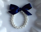 Flower Girl Pearl Bracelet with Navy Blue bow