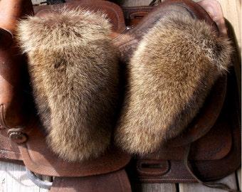 Raccoon fur mittens with purple fleece liner handmade medium