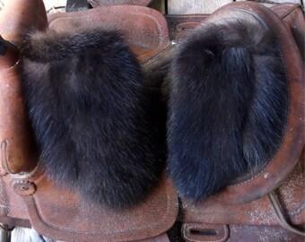 Black Skunk fur mittens handmade medium with purple fleece liner