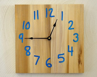 Wood Clock - Carved Numbers with Resin and Mica