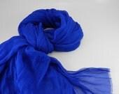 Handmade Silk Scarf --- Royal Blue