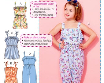 Learn to Sew a Little Girls' Jumpsuit Pattern, Girls' Short Romper Pattern, McCall's Sewing Pattern 7376