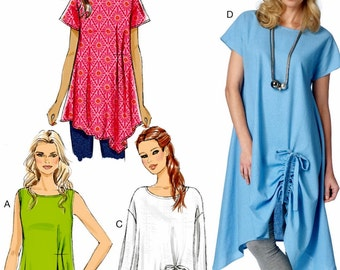 Ladies Pullover Tunic Pattern, Easy Tunic Tops Pattern, Butterick Sewing Pattern 6170