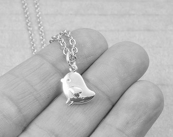 Baby Chick Necklace, Silver Baby Chick Charm on a Silver Cable Chain