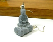 Seated Buddha Earrings in Silver and Grey