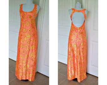 Vintage 70s maxi halter dress - shocking orange, psychedelic print - open back - high waisted