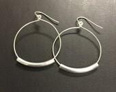 1 1/4 inch sterling silver hoop earrings, Joanna Gaines Inspired Earrings, Fixer Upper, Mixed Metal Earrings