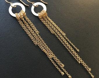 Mixed metal fringe dangle earrings