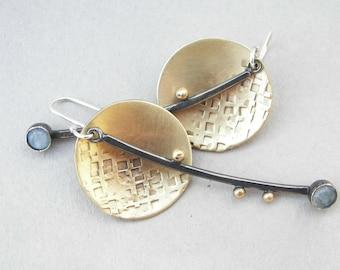 Dangling, brass disc and sterling earrings; modern dangling gemstone earrings; sterling silver, brass and moonstone lunar dangling earrings