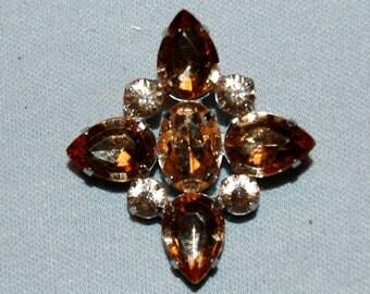 Vintage / Brooch / Amber / Rhinestones / Gold tone / old jewelry / jewellery