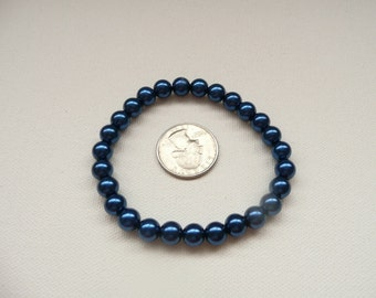 nbs-Dark Blue Pearl Stretch Bracelet