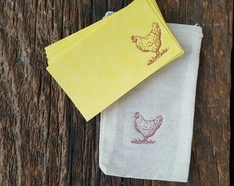 Letterpress, calling card, chicken, farm, rustic, card set, vintage, free shipping