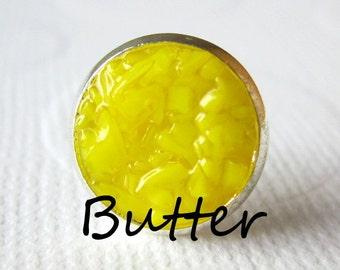Butter Earrings Yellow Druzy Studs Butter Yellow Earrings Bright Yellow Round Silver Studs Butter Yellow Color Bridal Earrings
