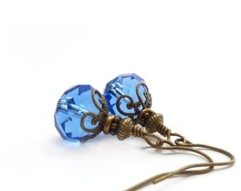 Sapphire Blue Faceted Drop Earrings - Wire Wrapped Glass Dangles - Ocean Blue - Petite Earrings - Bridal Blue Jewelry