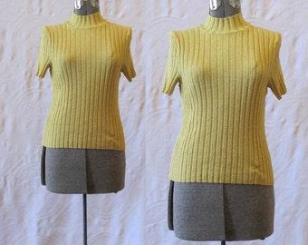 1990s Rib Knit Mock Turtle Neck Sweater / 90s Pierre Cardin Gold Sweater / 90s Fine knit Sweater