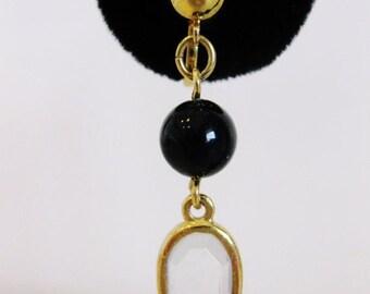 ON SALE Cute Vintage Trifari Clear Chrystal & Black Bead Earrings