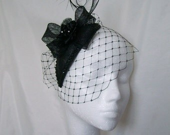 Black Veiled Crystal Studded Teardrop Fascinator Percher Mini Hat Gothic - Made To Order
