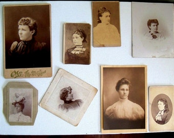 Victorian Ladies Photos, Antique Photographs, Photos of Women, Victorian Era Photographs, Early 1900s Ladies,  Photo Lot, Eight Photos