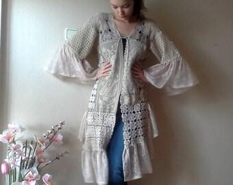 Shabby Chic doily jacket, Romantic Vintage crochet doilies Kaftan One of a kind clothing Women's Coat