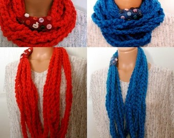 Crochet infinity scarf Crochet chain necklace, Crochet infinity scarf crocheted Yarn Infinity Scarf