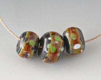 Southwest BHB Set - (3) Handmade Lampwork Beads - Black, Toasted Caramel, Green