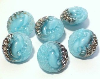 Blue Vintage Glass Buttons Beautiful 19mm Set 6 Sewing Embellishment Buttons