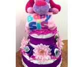 Diaper Cake Girl Baby Sis Purple Puppy Pink Daisy Flowers Pastel Lavender White Soft Baby Shower Newborn Infant
