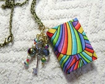 Librarian - Handmade Book Necklace - Book Jewelry - Book Pendant - Book Journal - Handmade Book - Rainbow Stripes Fabric - BN-121