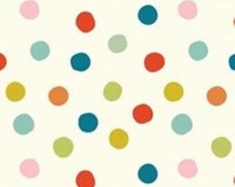 Organic Cotton Fabric-Birch- MOD BASICS 3 -Pop Dots-  Multi -  Great Shipping Rates